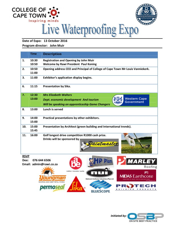 Water Proofing Expo 13th October by RAWI